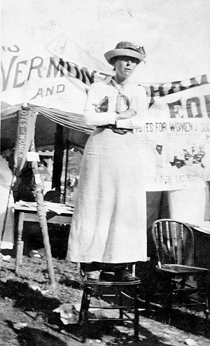 A suffragist at the 1912 Vermont State Fair - COURTESY OF THE VERMONT HISTORICAL SOCIETY