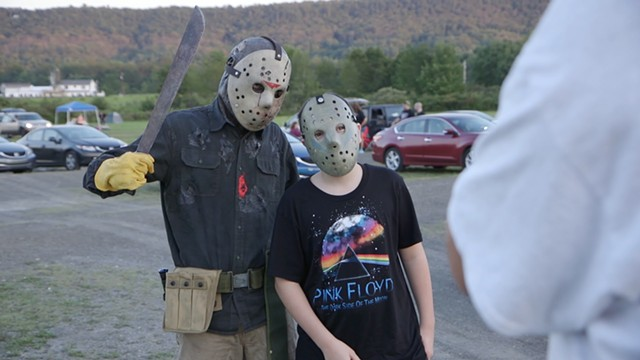 Patrons dressed for Friday the 13th films at the Mahoning Drive-In - COURTESY OF MONELLI FILMS