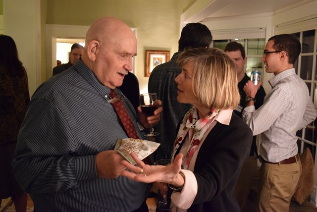 Sue Minter, Democratic candidate for governor, talks to Don White at the Jericho Democratic candidate forum. - TERRI HALLENBECK