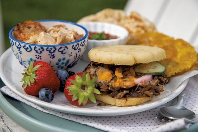 Gumbo, pork arepas, fry bread, paracones and Filipino banana ketchup served by Rachel Averitt - JAMES BUCK