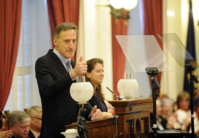 Gov. Peter Shumlin delivers his final State of the State address last Thursday at the Statehouse - JEB WALLACE BRODEUR