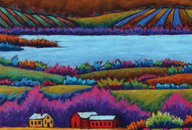 """Detail of """"Lake Champlain,"""" pastel by Daryl Storrs. PC: Sally MacKay - COURTESY OF VERMONT HISTORICAL SOCIETY"""