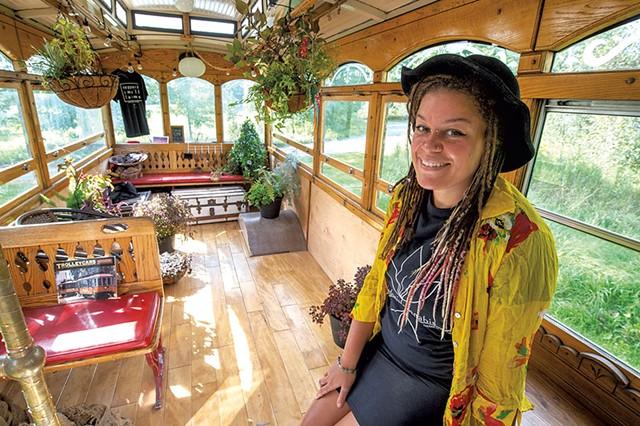 "Arantha Farrow in her ""Cannaboose"" trolley in Hardwick - JEB WALLACE-BRODEUR"