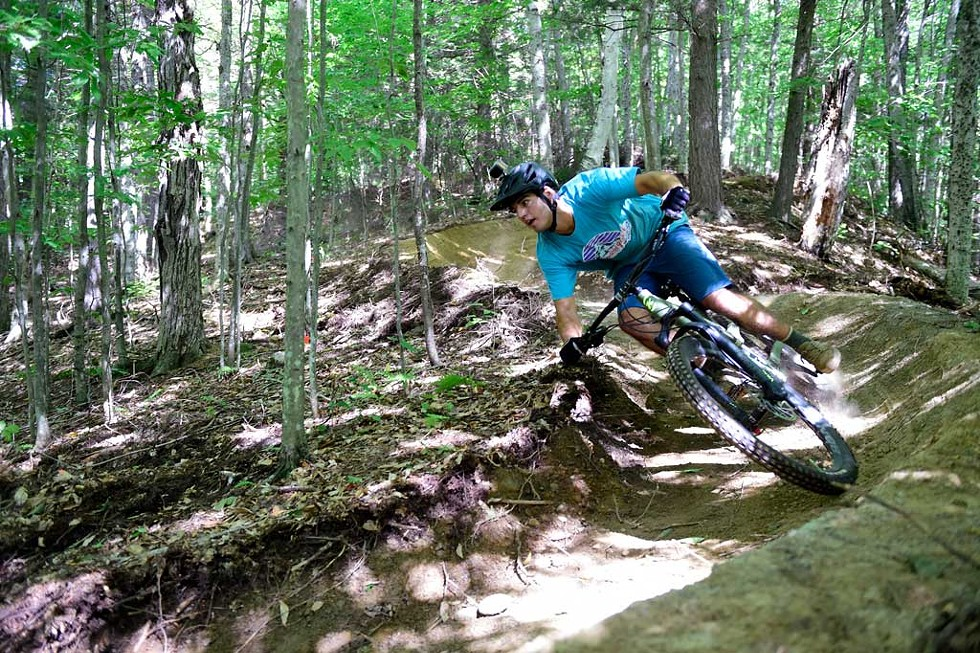 A mountain biker at North Branch Park in Montpelier - JEB WALLACE-BRODEUR