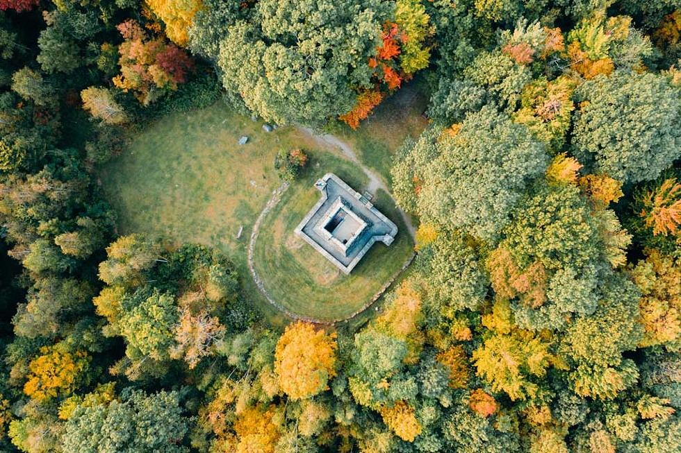 An aerial view of the Stone Tower in Hubbard Park, Montpelier - BEN CARPENTER FOR MONTPELIER ALIVE
