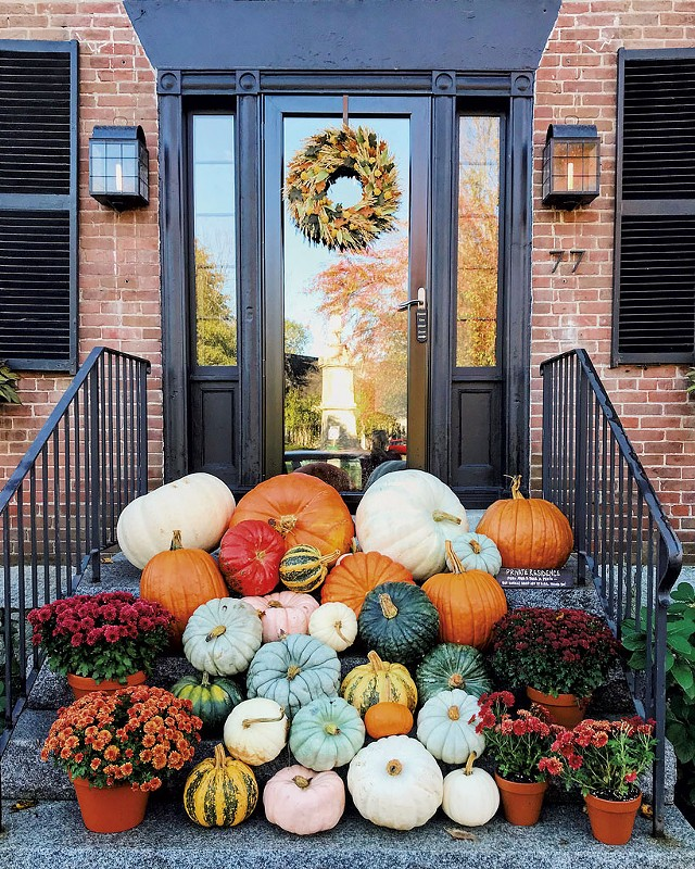 This year's pumpkin décor on Central Street in Woodstock - COURTESY OF JESSICA NOTARGIACOMO