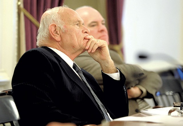 Sen. Dick Sears listening  during testimony on marijuana legalization legislation - JEB WALLACE-BRODEUR