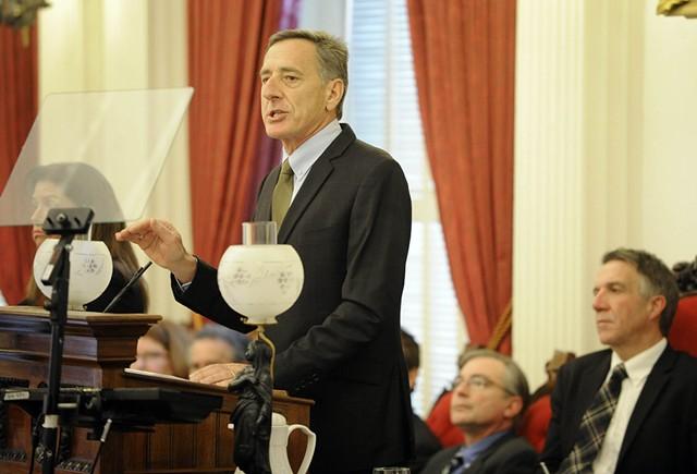 Shumlin delivering his budget address - JEB WALLACE-BRODEUR