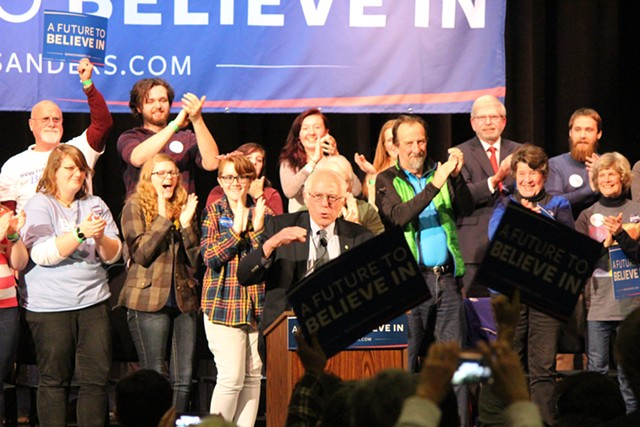 Sen. Bernie Sanders in Wolfeboro on Thursday - PAUL HEINTZ