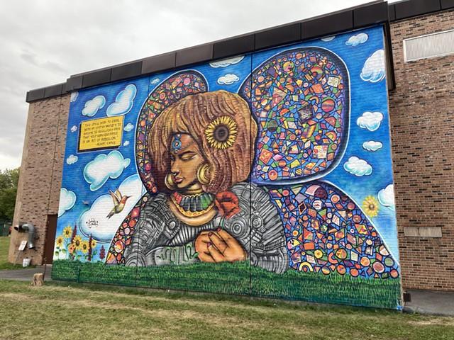 The Afronaut mural at Champlain Elementary - MARGARET GRAYSON ©️ SEVEN DAYS