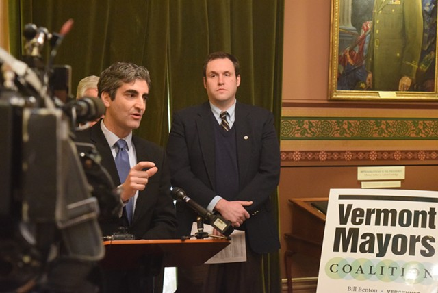 Burlington Mayor Miro Weinberger speaks earlier this month at the Statehouse. - TERRI HALLENBECK