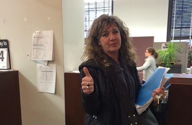 Karen Rowell dropped off her petition at City Hall last week. - ALICIA FREESE