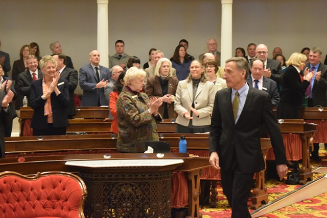 Gov. Peter Shumlin arrives for his budget address Thursday at the Statehouse. - TERRI HALLENBECK