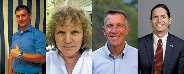 Michael A. Devost (I); Emily Peyton (Truth Matters); Phil Scott (R), David Zuckerman (P/D) - COURTESY PHOTOS
