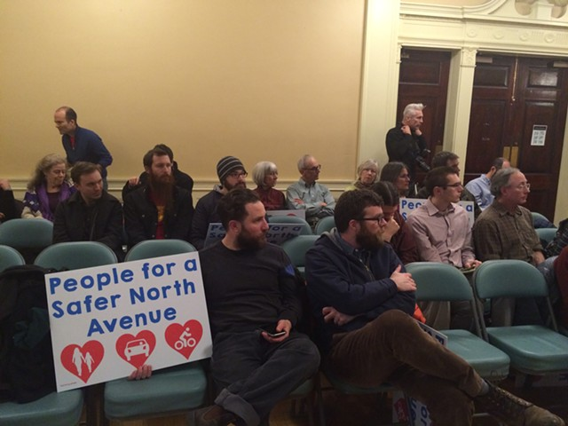 Supporters of the North Avenue pilot project made up most of the audience at Monday's city council meeting. - ALICIA FREESE