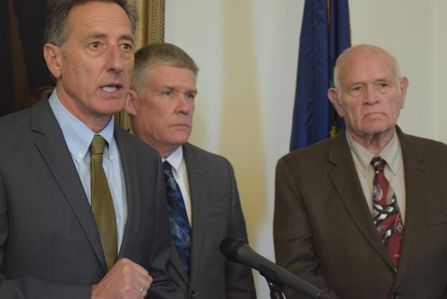 Gov. Peter Shumlin, Public Safety Commissioner Keith Flynn and Sen. Dick Sears via Seven Days, Terri Hallenbeck