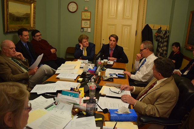 Garrett Graff (right, center) speaking to the Senate Government Operations Committee - TERRI HALLENBECK