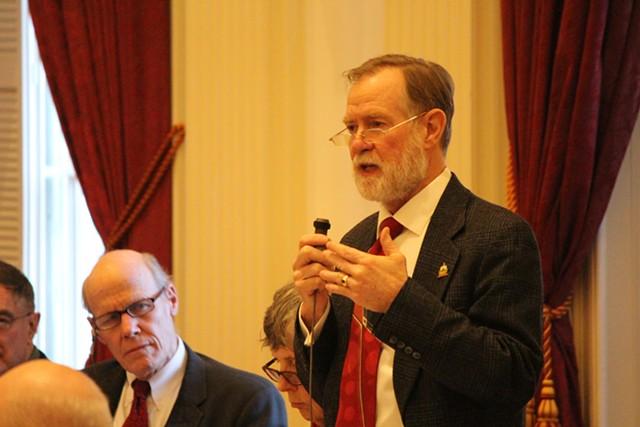 Rep. Dave Sharpe (D-Bristol) speaks Wednesday on the House floor. - PAUL HEINTZ