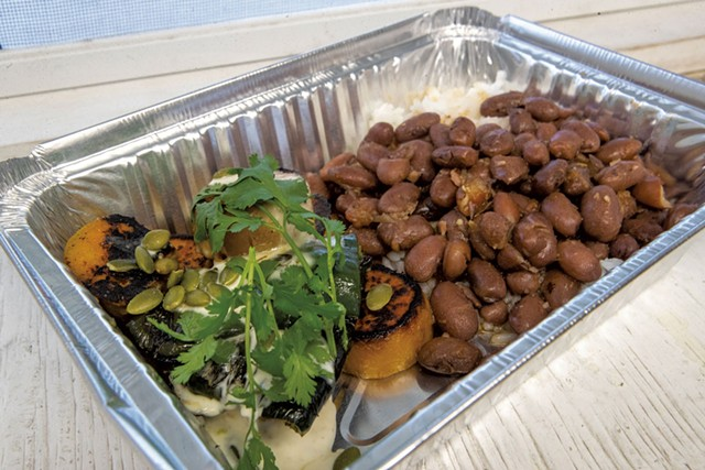 Roasted sweet potatoes with poblanos, crème fraîche, pumpkin seeds, cilantro, rice and beans - JAMES BUCK
