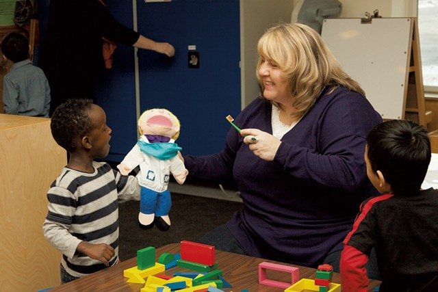 A lesson on brushing teeth at Franklin Square Early Learning Center in Burlington - COURTESY OF CHAMPLAIN VALLEY HEAD START