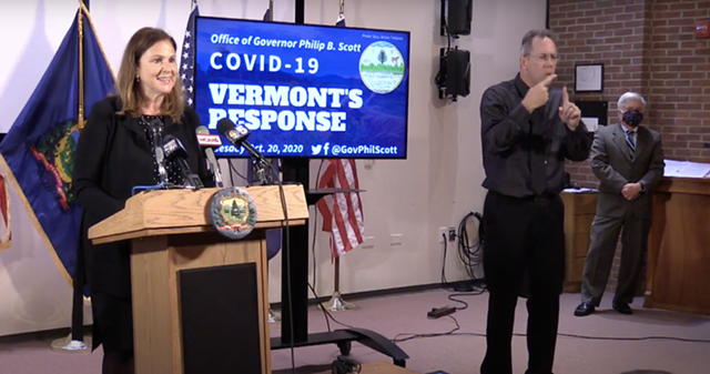 Economic Development Commissioner Joan Goldstein at Tuesday's press conference - SCREENSHOT/ORCA MEDIA