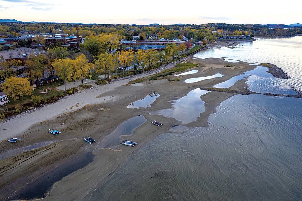The exposed beach in front on the Burlington Surf Club on Lake Champlain - JAMES BUCK