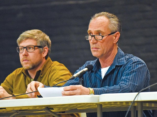 Chris Viens (Right) and Mark Frier at a Waterbury Selectboard session last year - COURTESY OF GORDON MILLER