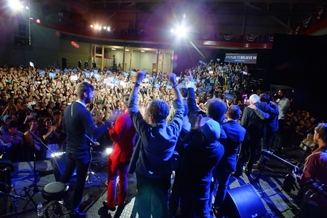 Musicians perform at a University of Iowa rally for Sen. Bernie Sanders - ADAM BURKE