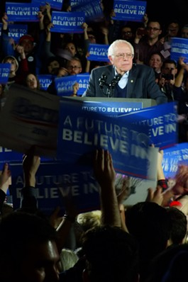 Sen. Bernie Sanders Saturday night at the University of Iowa - ADAM BURKE