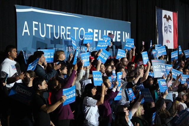 Sanders supporters Sunday in Des Moines - PAUL HEINTZ