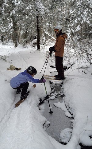 Indy and Kip backcountry skiing in Bolton - COURTESY OF JEN ROBERTS