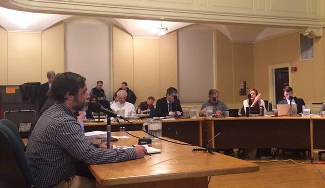 Redstone partner Erik Hoekstra addresses the city council last week. - ALICIA FREESE