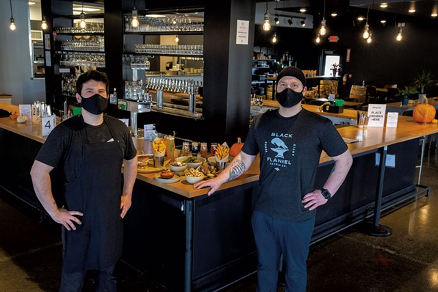 Travis Williams (left) and Trenton Endres at Black Flannel Brewing - JAMES BUCK