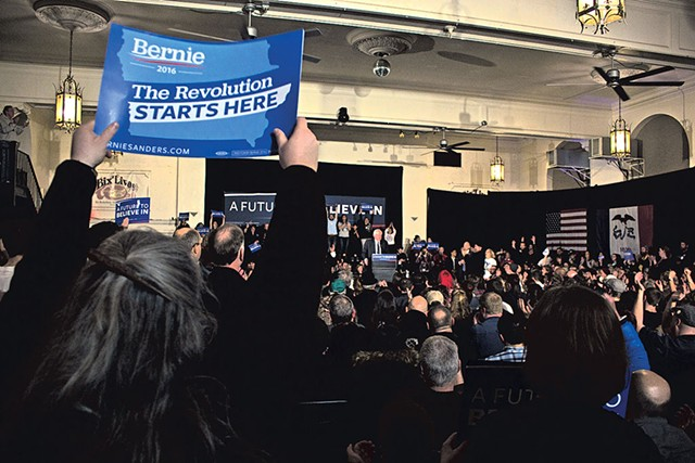 Sen. Bernie Sanders Friday in Davenport, Iowa - ADAM BURKE