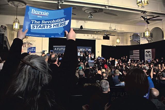 Sen. Bernie Sanders Friday in Davenport, Iowa - ADAM BURKE