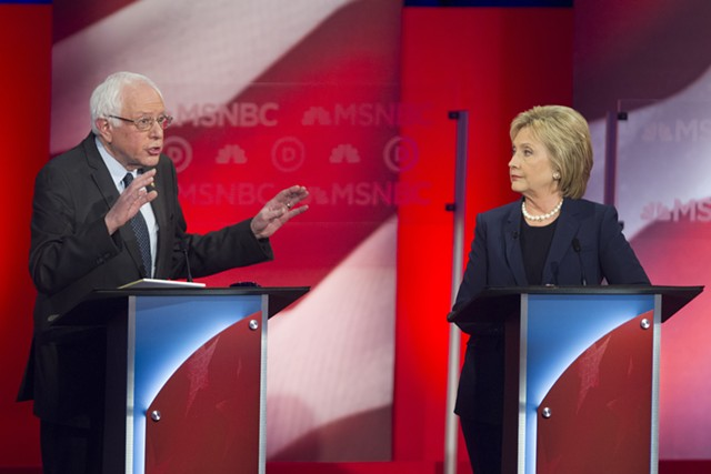 Sen. Bernie Sanders and Hillary Clinton at MSNBC's Democratic debate Thursday in Durham, N.H. - SCOTT EISEN/MSNBC