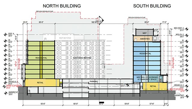 The new plans for CityPlace Burlington. Previously proposed building heights are outlined. - COURTESY OF FREEMAN FRENCH FREEMAN