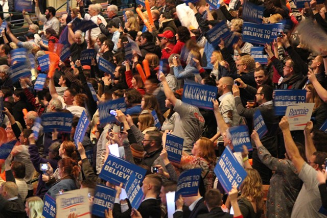 Sanders supporters in Manchester Friday night - PAUL HEINTZ