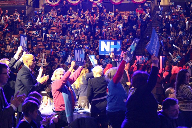 Clinton supporters in Manchester Friday night - PAUL HEINTZ