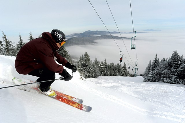 Jonathan Baldwin skiing beneath the Single Chair lift at Mad River Glen - JEB WALLACE-BRODEUR