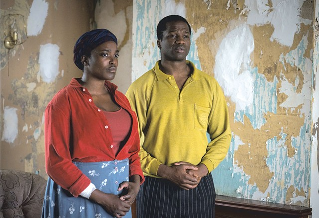 HOME FRONT Mosaku (left) and Dirisu play a refugee couple facing a supernatural threat in Weekes' thoughtful scare film. - AIDAN MONAGHAN/NETFLIX