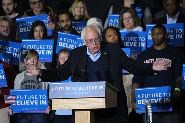 Sen. Bernie Sanders speaks Monday at Daniel Webster College in Nashua, N.H. - PAUL HEINTZ