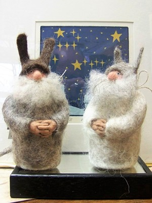 """Amanda Weisendfeld's gnomes in front of Mary Simpson's """"Constellations"""" - COURTESY OF NORTHEAST KINGDOM ARTISANS GUILD"""
