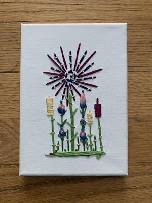 Embroidery, art on canvas by Jennifer Carusone of Burlington-based Pixie Twine - COURTESY PHOTO
