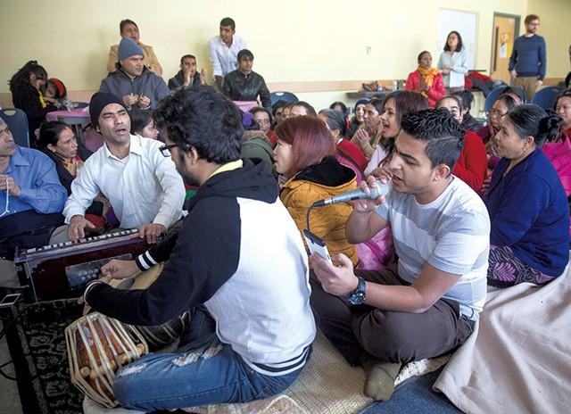 Puru Niroula playing the tabla and Deo Pokhrel singing - JAMES BUCK