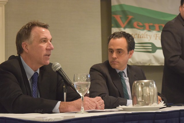 Lt. Gov. Phil Scott (left) and former state senator Matt Dunne at a forum for gubernatorial candidates. - TERRI HALLENBECK