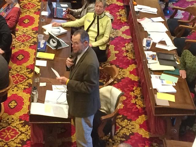Rep. Jim McCullough (D-Williston) explains a bill that would protect endangered international wildlife. - NANCY REMSEN