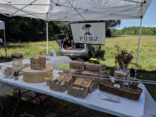Funj. Shrooming at the Champlain Islands Farmers Market over the summer - COURTESY OF KEVIN MELMAN