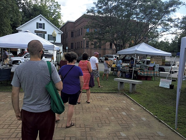 Customers at the Northfield Farmers Market in summer 2020 - COURTESY OF CASSIE MORSE/NORTHFIELD FARMERS MARKET