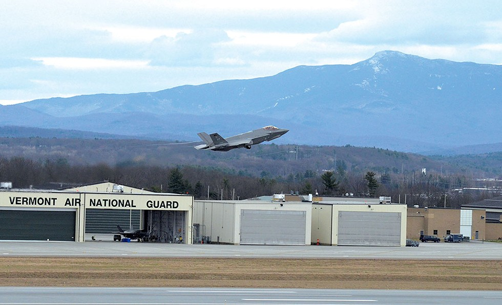 An F-35 taking off in South Burlington - SASHA GOLDSTEIN